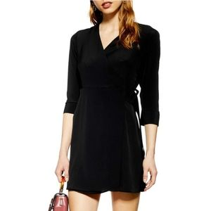 NWT Topshop Black wrap Buckle Holiday Party Dress